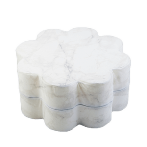 Pouf, White Marble, Flower