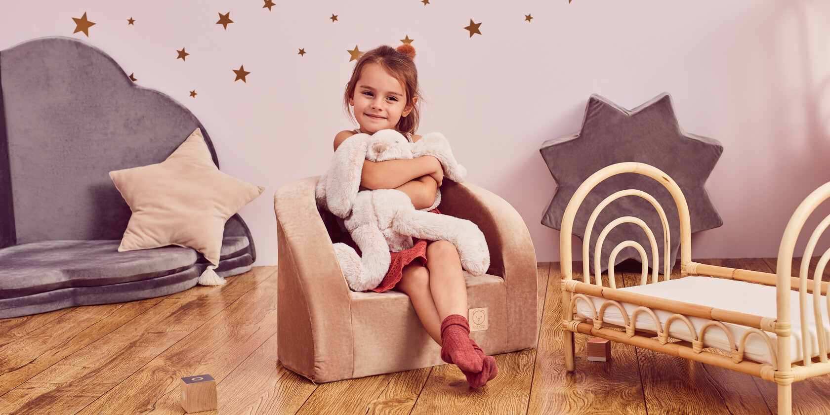 Armchair – Smart – Grey With White Butterflies