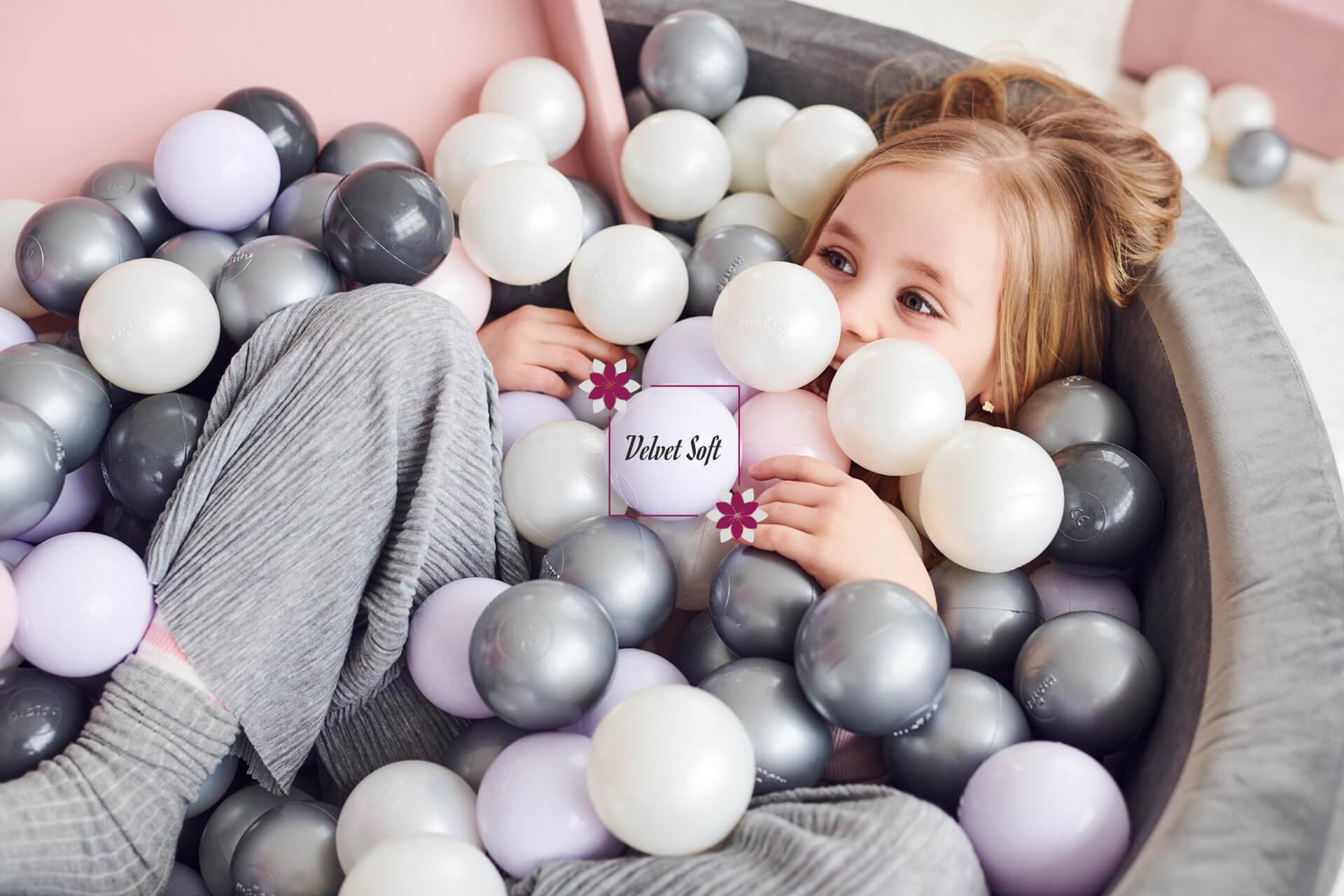 Ball Pool Velvet Soft – White Marble, Round